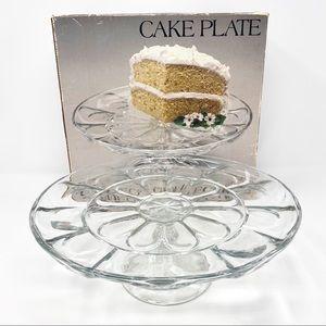 "Vintage Glass 12"" Crystal Cake Plate with Pedestal"